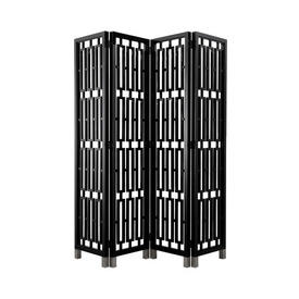 Black Lacquer Geometric Folding Screen on Silver Feet