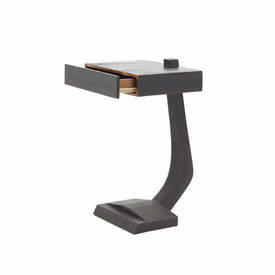 "Dark Brown Ostrich & Stingray Skin ""R&Y"" Bedside Table"