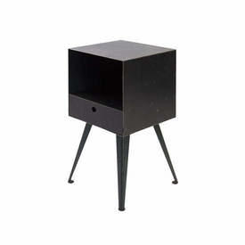 Black Steele Bedside Cabinet with Drawer