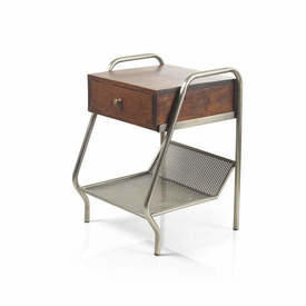 Acacia Wood & Grey Mesh ''Fabian'' Bedside Cabinet