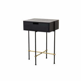 "Black Ash ""Highline"" Bedside Cabinet on Black & Gold Frame with Drawer"