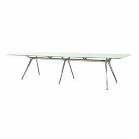 Chrome Base Boardroom Table with 2 Part White Glass Top