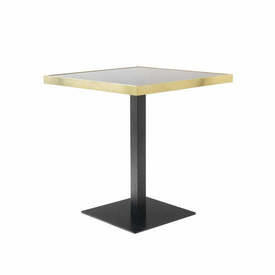 "Square Black & Brushed Gold ""Germain"" Cafe Table with Black Glass Top"