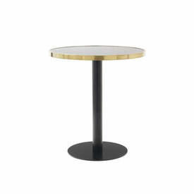 "Circular Black & Brushed Gold ""Pigalle"" Cafe Table with Black Glass Top"
