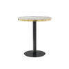 """Circular Black & Brushed Gold """"Pigalle"""" Cafe Table with Black Glass Top"""