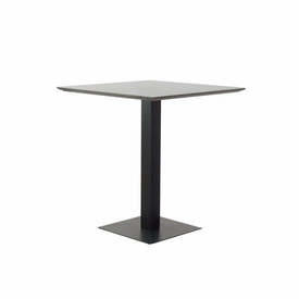 "Square Grey Mineral Top ""Pillar"" Cafe Table on Black Metal"