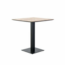 "Square Wooden ""Herringbone"" Cafe Table on Black Metal Base"