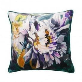 "45Cm Square Purple & Green Floral Velvet ""Vivienne"" Cushion"