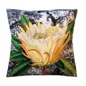 Square Velvet ''Yellow Protea'' Flower Cushion