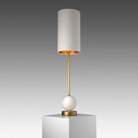 Brass & White Marble Ball ''Geralt'' Table Lamp with Cream Cylinder Shade Gold inner