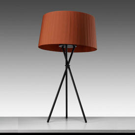 Black Tripod Table Lamp with Terracotta Pleated Shade