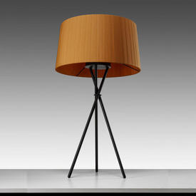 Black Tripod Table Lamp with Mustard Pleated Shade
