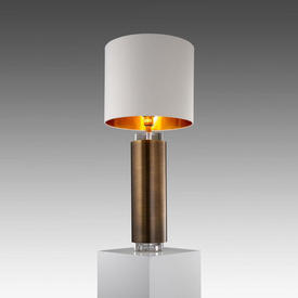 "Dark Brass & Clear Glass Cylinder Base ""April"" Table Lamp with Cream Shade Gold inner"