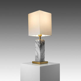 "White Marble & Antique Brass ""Micaela"" Table Lamp with Cream Shade"