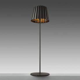 "Dark Brown ""Tank"" Standard Lamp with Pleated Metal Shade"