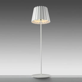 """White """"Tank"""" Standard Lamp with Pleated Metal Shade"""