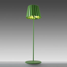 """Pea Green """"Tank"""" Standard Lamp with Pleated Metal Shade"""