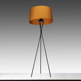 Black Tripod Floor Lamp with Mustard Pleated Shade