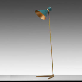 Gold Base Peggy Floor Lamp with Teal Cone Shade
