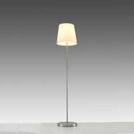 Medium Brushed Ali Pole (3247) Standard Lamp with White Glass Shade