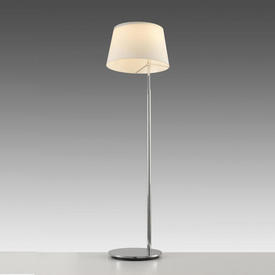 Chrome 'Passion' Floor Lamp with White Glass Bucket Shade
