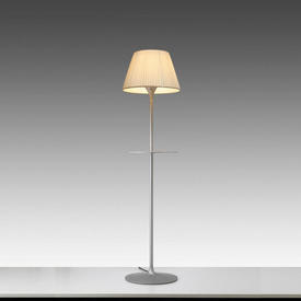 Cast Ali ''Romeo Soft'' Standard Lamp with Shelf with Cream Pleated Shade