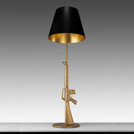 "Large Gold Painted ""Lounge Gun Standard Lamp with Black Shade Gold inner"