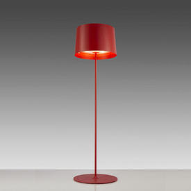 """Red """"Twiggy"""" Standard Lamp with Red Drum Shade"""
