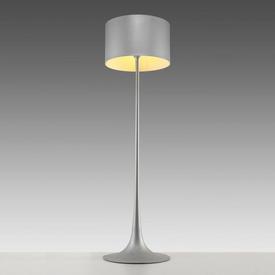 "Matt Silver ""Spun"" Floor Lamp with Silver Drum Shade"