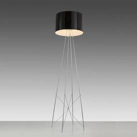 Chrome ''Ray'' Floor Lamp with Black Glossed Shade