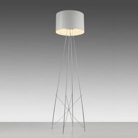 Chrome ''Ray'' Floor Lamp with White Glossed Shade