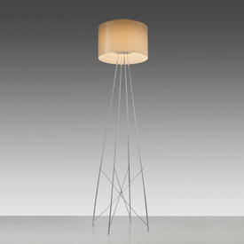 Chrome ''Ray'' Floor Lamp with Smoked Glass Shade