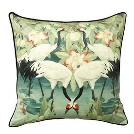 "Square Sage Green Velvet ""West Lake"" Cranes Cushion"