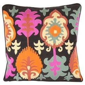 Square Black, Pink, Cream & Blue Ethnic Embroided Pattern Cushion