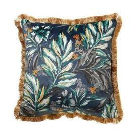 "Square Navy Blue ""Juniper"" Velvet Cushion with Gold Back & Fringe"