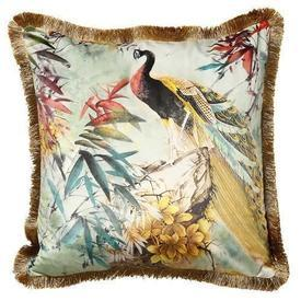 "Square Green ""Shiva"" Velvet Cushion with Gold Back & Fringe"