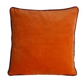 Square Orange Velour Cushion with Dark Orange Piped Edge