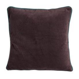 Square Dark Plum Velour Cushion with Teal Piped Edge