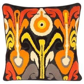 Square Grey Cushion with Orange, Red & Cream Ethnic ''Flow'' Embroided Pattern