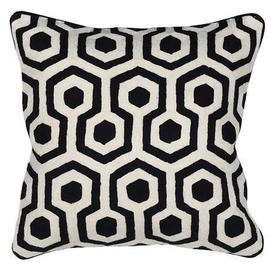 Square Black & Ivory Crewel Pattern Cushion