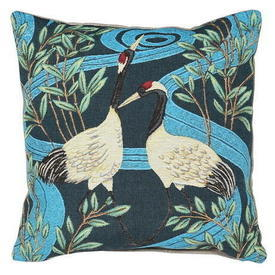 Square Blue Stork Pattern Cushion