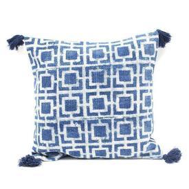 Square indigo & White Block Print ''Squares'' Cushion
