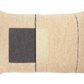 Rect Cream, Grey & Black ''Urban'' Wool Mix Cushion