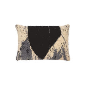 Rect Black, Grey & Cream ''Nero Chevron'' Wool Mix Cushion