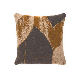 Square Mustard, Grey & Beige ''Avana Chevron'' Wool Mix Cushion