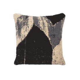 Square Grey, Black & Cream ''Nero Chevron'' Wool Mix Cushion