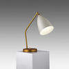 "Gold ""Grasshopper"" Desk Lamp with Oyster White Shade"