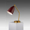 "Gold ""Grasshopper"" Desk Lamp with Andorra Red Shade"