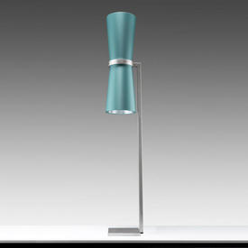 """Deco Silver """"Kono"""" Floor Lamp with Turquoise Satin Cone Shades"""
