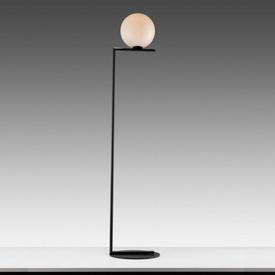 """Matt Black """"IC"""" Floor Lamp with White Glass Globe Shade"""